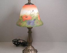 Art Nouveau Style Lamp, Bronze Finish Base and Glass Hand Painted Floral Poppies Shade in Orange, Blue, Green and Cream, Small Cottage Lamp