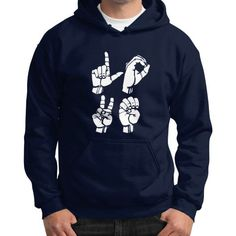 Sign language love Gildan Hoodie (on man)