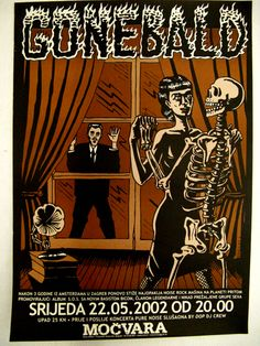 #gigposter for Gone Bald, design by Igor Hofbauer.