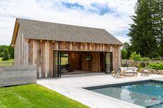 Pool Barn House, Barn Pool, Modern Pool House, Pool House Plans, Modern Pools, Pool Houses, Pool House Designs, Barn House Design, Pool House Interiors
