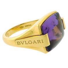 BULGARI Cabochon Amethyst Yellow Gold Ring