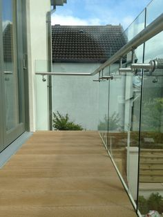 aluminum base shoe glass railing also called aluminum channel glass railing,its advanced in easy mounting Balcony Glass Design, Glass Balcony Railing, Roof Terrace Design, Balcony Grill Design, Balcony Railing Design, Glass Stairs, Staircase Design, Outdoor Handrail, Steel Railing Design