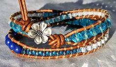 Aqua Double Leather Wrap Bracelet with multiple stones beads and glass, Plumeria button, Coastal Bracelet, Beach Boho Jewlery - by SeaSide Strands