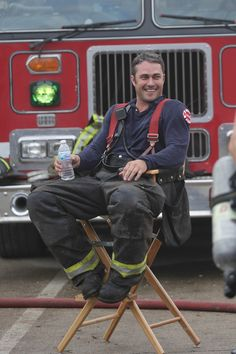 Taylor Kinney as Severide.so sexy! West Virginia, Taylor Kinney Chicago Fire, Hot Firefighters, Male Model Names, Chicago Shows, Chicago Med, My Kind Of Town, Great Tv Shows, Men In Uniform