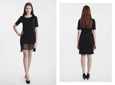 Czarna sukienka z dołem z siatki, z rękawkiem. Zapraszamy na www.GANTOS.pl !