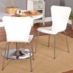 White Modern Dining Chair Set Retro Wood Metal House Mid Century Seat Furniture #WhiteModernDining #Modern
