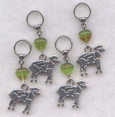 Sheep ram lamb ewe snag free no snag stitch markers  Small, lightweight stitch markers feature fluffy sheep dangle charms, Czech glass heart accents in rich pastures green with random stripes. Cheery and bright! Makes you think of sunny days on the meadows!  Dangle stitch markers are more than just knitting needle jewelry! Dangle markers are much easier to manoeuver from one needle to the other than single rings which are easily dropped and lost, and large bead markers which give you more…