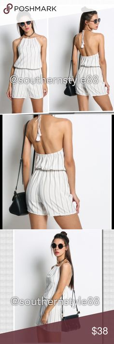 Sleeveless Striped Backless LaceUp Jumpsuit XLarge Polyester, halter, high waist, above knee, O-neck, Spaghetti strap which is adjustable. ⛔️Trades/PP ✅Offers are Considered. Thanks for Looking! Boutique Tops