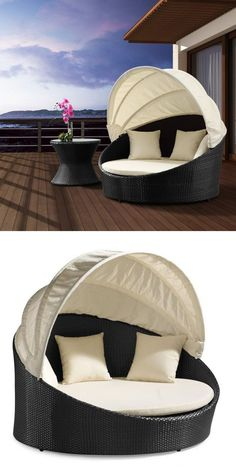 Outdoor Canopy Bed - retractable top, so you can be in the sun or shade! So comfy and perfect! - rugged life | rugged life