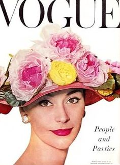 Vogue-June 1956 Cover:Model Anne Gunning is wearing a Hat by Christian Dior Boutique. Floral Fashion, Retro Fashion, Vintage Fashion, Fifties Fashion, Timeless Fashion, Fashion Fashion, Fashion Models, High Fashion, Vogue Magazine Covers