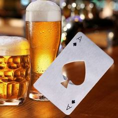 Cheap bottle openers, Buy Quality beer opener directly from China opener bottle Suppliers: Stainless Steel Bottle Opener Beer Opener Poker Playing Card of Spades Soda Bottle Cap Opener Bar Tools Kitchen accessories Bottle Cap Opener, Credit Card Bottle Opener, Beer Caps, Beer Bottle Opener, Ace Of Spades Bottle, Bottle Top, Ace Card, Soda Bottles, Kitchen Gadgets