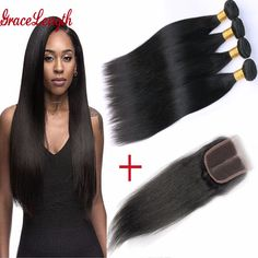 3/4 Bundles Brazilian Virgin Hair With Closure Human Hair Extension brazilian hair weave bundles straight hair with Lace Closure
