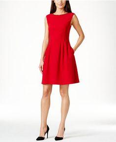 Vince Camuto Embellished Boat-Neck Fit & Flare Dress - Dresses - Women - Macy's