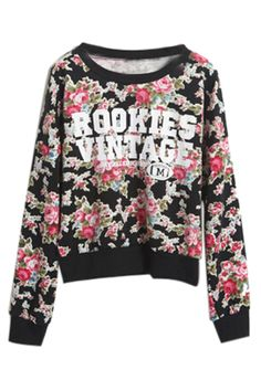 ROMWE | Letters and Floral Print Dual-toned T-shirt, The Latest Street Fashion $24.99