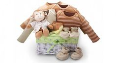 - Monkey Business Baby Gift Basket --love this! Unique Baby Gifts, New Baby Gifts, Gifts For Kids, Baby Shower Gift Basket, Baby Shower Gifts, Business Baby, Monkey Business, Baby Sewing Projects, Organic Baby