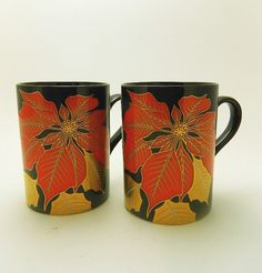 Vintage Pair Poinsettia Noir Mugs  Fitz and Floyd by MemeresAttic