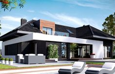One Storey Modern Home Design - Design Architecture and Art Worldwide Beautiful House Plans, Modern House Plans, Modern Villa Design, Modern Farmhouse Exterior, House Entrance, Design Case, Design Design, Home Fashion, Modern Architecture