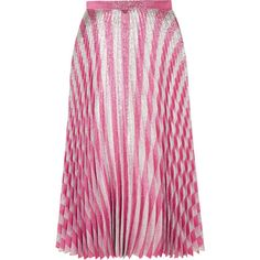 Gucci Pleated metallic striped stretch-silk midi skirt (4.730 BRL) ❤ liked on Polyvore featuring skirts, bottoms, gucci, saias, mid calf skirts, calf length skirts, metallic skirt, stripe skirts and pleated skirt