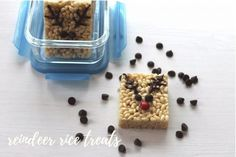 Reindeer Rice Treats - We Love GlassWe Love Glass Easy Holiday Recipes, Easy Recipes, Easy Meals, Cereal Recipes, Dog Food Recipes, Rice Cereal, Gluten Free Breakfasts, Melting Chocolate, Reindeer