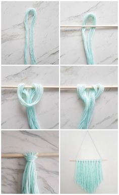 How to make a simple DIY wall hanging with yarn - A Q .- Wie erstelle ich eine einfache DIY Wandbehang mit Garn – A Quick & Easy DIY – How to make a simple DIY wall hanging with yarn – a quick & easy DIY – - Pot Mason Diy, Mason Jar Crafts, Mur Diy, Diy Simple, Simple Crafts, Quick And Easy Crafts, Easy Diy Gifts, Modern Crafts, Yarn Wall Hanging