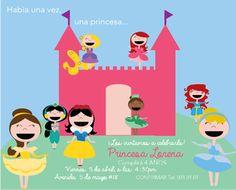 Invitacion y decoracion fiesta de Princesas inspirado en Disney. Personaliza con tus datos para imprimir todo para tu fiesta.