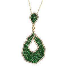 Green Tsavorite Garnet & Diamond Pendant 14k Yellow Gold, Anniversary Gifts for Women, Valentine's Day, Mother's Day, Christmas Gifts, Pave, Gemstone Pendants, Modern