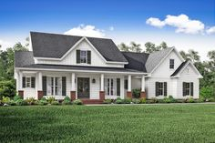 Country house plans create a relaxed yet luxurious feeling that welcomes visitors. Find cottage home plans, low country house plans, and modern farmhouses. Modern Farmhouse Design, Modern Farmhouse Exterior, Country Farmhouse, Country Home Plans, Farmhouse Decor, Farmhouse Style Homes, Farmhouse Shutters, Ranch Exterior, Exterior Shutters