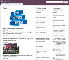 Homepage of the DCMS Gov intranet. Intranet Design, Annual Leave, 1 News, Do It Right, Digital, Books, Design Ideas, Libros, Book