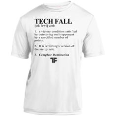 Premium White TECH FALL Youth Wrestling T-Shirt. TECH FALL DEFINITION SHIRT....The term that defines it all, Technical Fall. - 100% polyester, 3.8 ounce - Double-needle sleeves and hem - Moisture-Wick