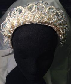 Vintage 1990-Bridal Headband/Pearl Beaded Headband/Wedding Bride Bridal  #icusuezq on #Etsy  #hairaccessories #bride #Wedding #headpiece  #hairaccessories #bride #Wedding #vintageheadpiece