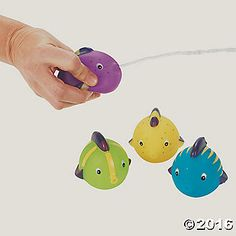 These 2 painted vinyl fish are a hit on a hot day! Toss several of these…