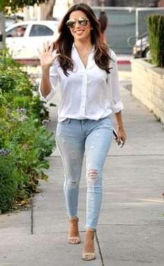 Eva Longoria in ripped jeans, heels and a white blouse - click through for more spring outfit ideas!