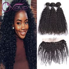 13X4 Ear To Ear Lace Frontal Closure With Bundles 7A Indian Virgin Hair Indian Kinky Curly Virgin Hair With Lace Frontal Closure