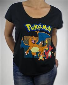 Pokemon Charizard Evolution Scoop Neck Junior Fitted Tee