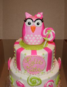 """sweet little pink owl birthday cake - two tier -top 6"""" chocolate and bottom 8"""" almond vanilla all iced in decorators sweet vanilla buttercream with mmf details. Smash cake 4"""" almond vanilla with buttercream for the little one.  Owl is rice crispy treats covered in mmf.  Cake was done based on a picture"""