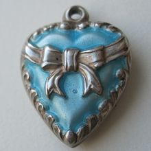 Sterling Blue Enamel Puffy Heart Charm Bow