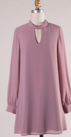 Best 10 The perfect fall dress! Fun mauve color that can be paired with knee high boots or dressed up with heels. It features beautiful lone sleeves with buttons, a mock neck, and a keyhole back with two buttons. Fully lined! Stylish Dresses, Casual Dresses, Fashion Dresses, Dresses Dresses, Dance Dresses, Fall Dresses, Short Dresses, Long Sleeve Short Dress, Dress Long