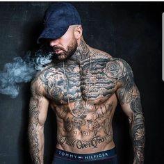 Cool Tattoos For Guys, Badass Tattoos, Body Art Tattoos, Chest Tattoos For Men, Black Men Tattoos, Sexy Tattooed Men, Tattoed Guys, Tatted Men, Bild Tattoos