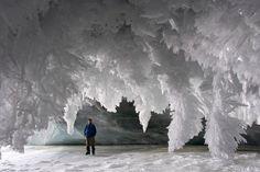 Ice Cave - Baffin Island, Nunavut, Canada.