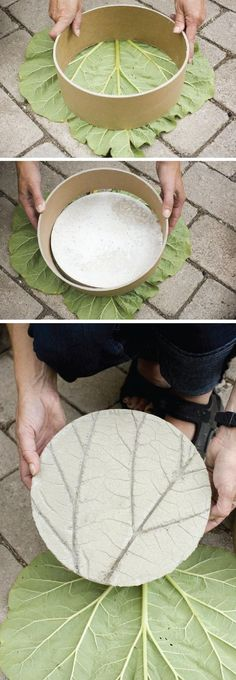 DIY Garden Stone| Since it is fall... it could be cool to use autumn leaves that have fallen off the trees.