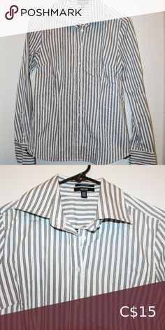 Jacob white and grey striped blouse Fitted white and grey vertical striped button-up blouse. Black lace detailing at bottom sides. Vertical Stripes, Grey Stripes, Lace Detail, Button Up, Bell Sleeve Top, Blouses, Best Deals, Things To Sell, Black