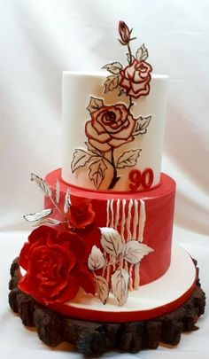 Birthday cake in white red - cookie by Kaliss