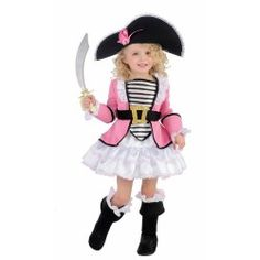 Fantasia Infantil Pirata Rosa Meninas Halloween Carnaval