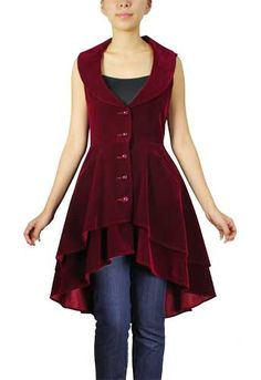 Steampunk Tiered Velvet Vest available at www.cultofcandy.com! Get yours with FREE SHIPPING! #steampunk #steampunkfashion #steampunkvest #goth #gothicstyle #gothicfashion