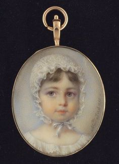 A portrait miniature of a very young Girl of the de Tasserant family (later Madame de L'Dedier), wearing white lace bonnet and dress  Mlle Marie Marguerite Francois Jaser (1792-1873)