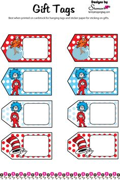 Printable Dr. Seuss Tags