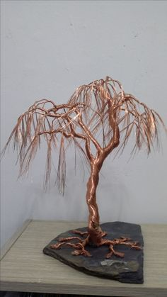 Wire Art Sculpture, Tree Sculpture, Wire Crafts, Metal Crafts, Fantasy Wire, Bonsai Wire, Copper Art, Wire Trees, Fairy Garden Houses