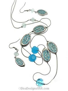 Blue Crystal Long Necklace Earrings Set BW Silver Tone Fish Hooks Recyclebabe http://www.amazon.com/dp/B00R0FEJFA/ref=cm_sw_r_pi_dp_fj5Jub0ETESTH
