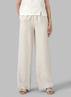 Linen Casual Extra Long Pants. Natural style.