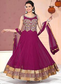 Glowing Magenta Anarkali Suit
